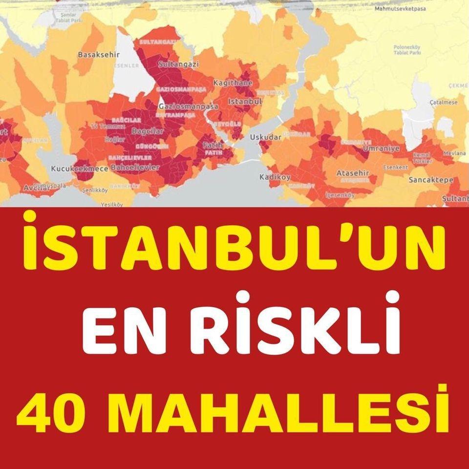 İstanbul'da k'oronavirüs riskinin en yüksek olduğu 40 mahalle galerisi resim 1