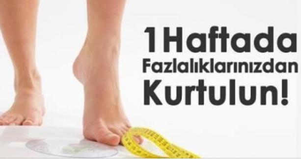 Sadece 1 Haftada 5 Kilo Zayıflatan Diyet Listesi